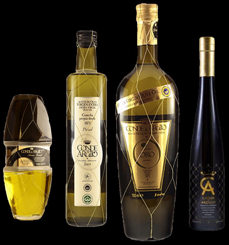 Botellas de Aceite Virgen extra Conde Argillo